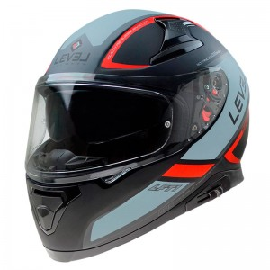 CASCO LEVEL INTEGRAL  LFT1 TOURING NEGRO MATE ROJO